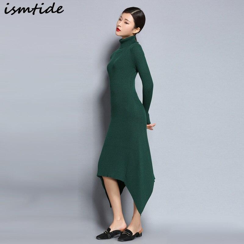 купить Long Knitted Dresses Woman Cashmere Sweaters Dresses Warm Winter Long Sleeve Sexy Female Pullovers Turtleneck Sweater Dress Maxi недорого