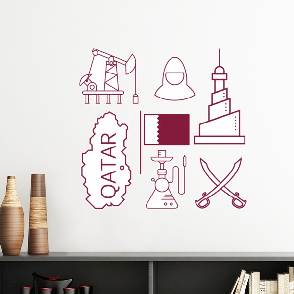 Wall Art Stickers Qatar : Hand painted simple line drawing city qatar flag removable