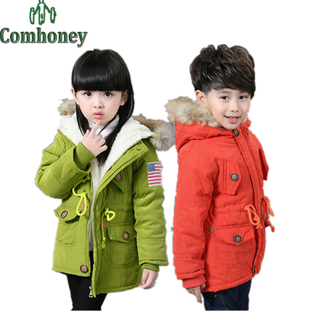 Girls Winter Jacket Baby Boy Cotton Padded Coat Kids Parka Fleece Warm Thick Teenager Outwear USA Flag Children's Winter Clothes