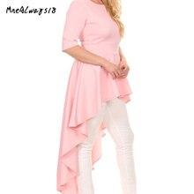 Mnealways18 Plus Size 5XL High Low Hem Ruffles Irregular Blouse Shirt Női ruházat Summer Beach Pink Asymmetrical Tunica Tops