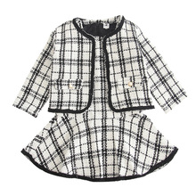 New Year Suits Plaid Woolen Coat Two-pieces 2019 Girls Autumn Winter Party Vest Dresses + Jackets for Girls Black and White