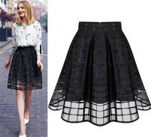 New Women Long Skirt Transparent Tulle Skirts Womens High Waist Pleated Midi Skirts Organza Saia Feminino