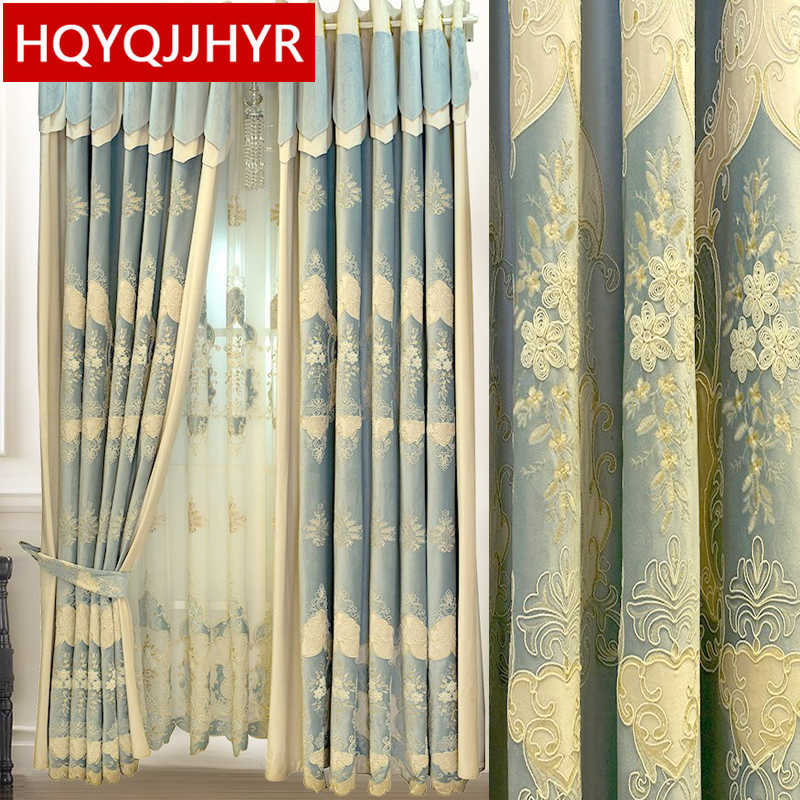 Royal aristocratic European top Blue embroidery Blackout curtains for Living Room windows high-end villa curtains for Bedroom