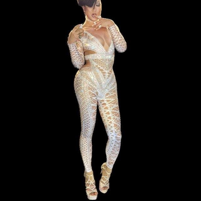Sexy Blanc Noir Salopette Costume d une Seule pièce Discothèque Groupe De  Danse De Danse 3a747117196
