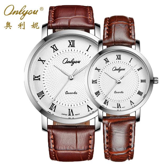 Amantes da marca onlyou assistir algarismos romanos relógio de couro relógio das mulheres dos homens relógios de pulso relogio masculino feminino masculino feminino 81055