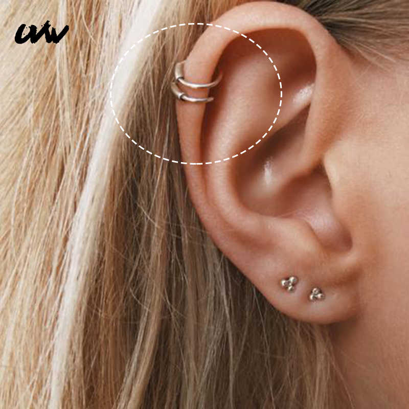UVW184 1pc 316L Steel Round Shape Tragus Septum Rings Helix Piercing Body Jewelry Simple Nose Rings Stud Segment Women Earrings