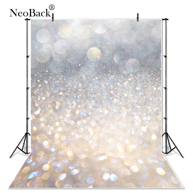 NeoBack Thin Vinyl Silver Bokeh New Born Baby Photographic Backgrounds Photo Studio Children Printed Studio Photo Backdrop P0296