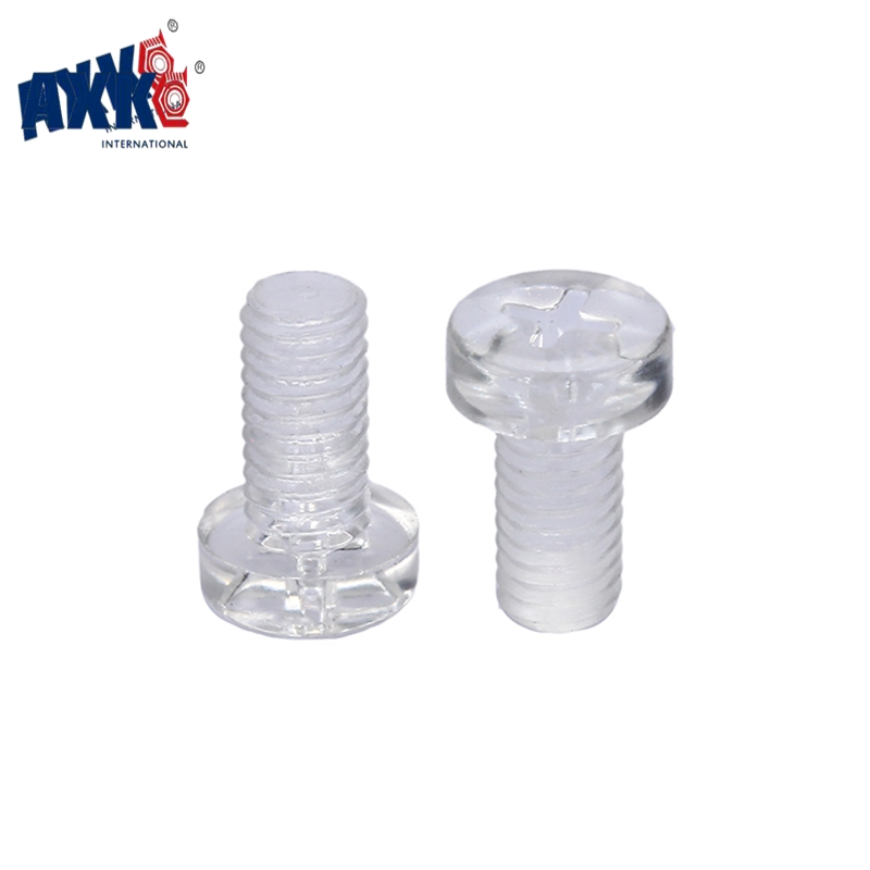 AXK 50Pcs ISO7045 DIN7985 M2 M2.5 M3 M4 M5 Transparent Acrylic Cross Round Head Nylon Screws Plastic Phillips Screw niko 50pcs chrome single coil pickup screws