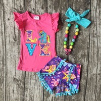 Baby Girls Shorts Sets Boutique Outfit Hot Pink Purple Unicorn Love Summer Cotton Clothes Pom Pom