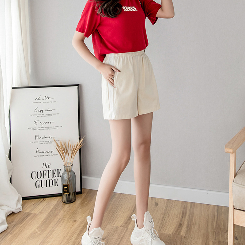 Women shorts Loose summer shorts 2019 spodenki damskie Cotton Casual Elasticated high waist wide leg shorts New arrive fashion in Shorts from Women 39 s Clothing