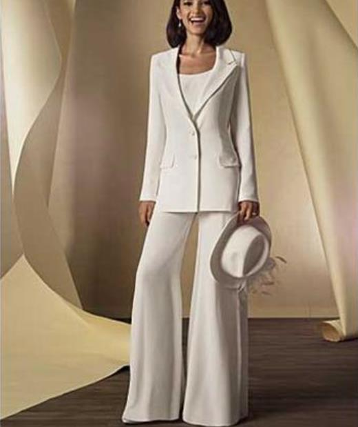 2016 Chiffon Long Sleeves Mother Of The Bride Pant Suits