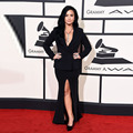 Demi Lovato en Grammys 2016 red carpet Negro de Baile Vestido de Partido Atractivo de Manga Larga Vestido de Noche Árabe
