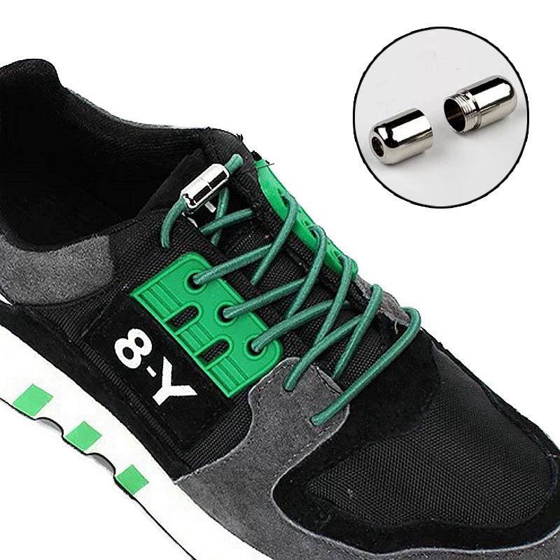1Pair Fashion No Tie Shoelaces New Simplicity Elastic Shoe Laces Round Metal Tip Shoelace Leisure Quick Sport Shoe Laces Unisex