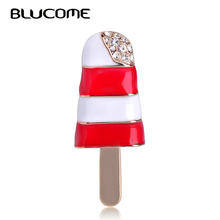 Blucome Fashion Summer Ice Cream Shape Brooch Red Enamel Crystal Popsicle Corsage Women Kids Party Clothes Accessories Suit Pins(China)