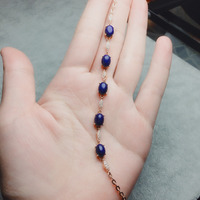 Fine Jewelry Real 925 Sterling Silver S925 100% Natural no white Blue Lapis Gemstone Bracelets for women Fine Bracelet