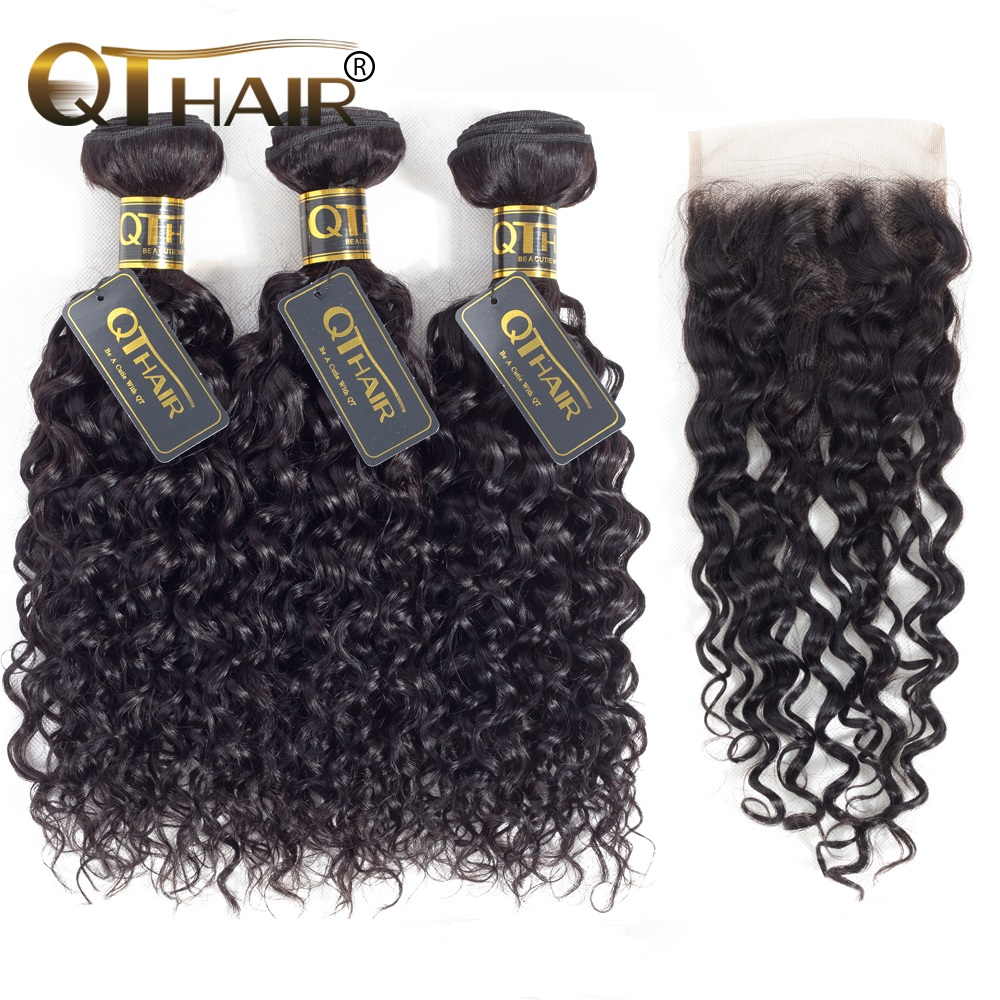 QT Hair Water Wave Bundles With Closure Human Hair Weave Bundles With Closure Peruvian Remy Hair