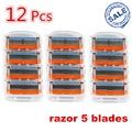 12 fp unids/pack nuevo mache 5 capas máquina de afeitar sistema de los sacapuntas máquina rzaor sharp cuchillos barbero cuchilla de afeitar para hombres