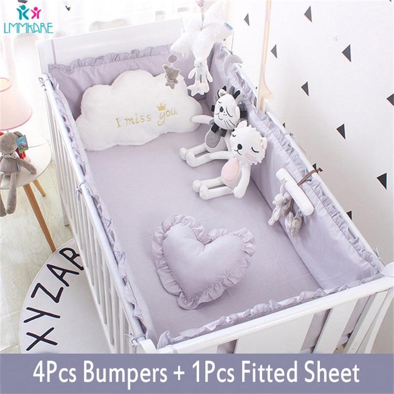5Pcs Cotton Baby Crib Bumper Pads For Cribs Padded Crib Liner Set For Boys Girls Safe Bumper Guards Crib Rail Padding Grey/White