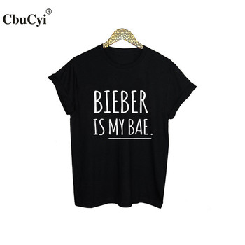 BIEBER is my Bae Justin Bieber T-Shirts Funny Fashion Music T shirt Women Brand Clothing Black White Letters Printed tshirt