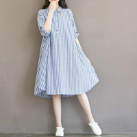 Pregnant Clothes Half Sleeve Pregnancy Shirts Maternity Blouses and Tops Long Maternity Shirt Dress Casual Striped Dresses