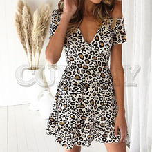 CUERLY V-neck leopard print women short dress Elegant A-line plus size summer mini Short sleeve high waist ruffled