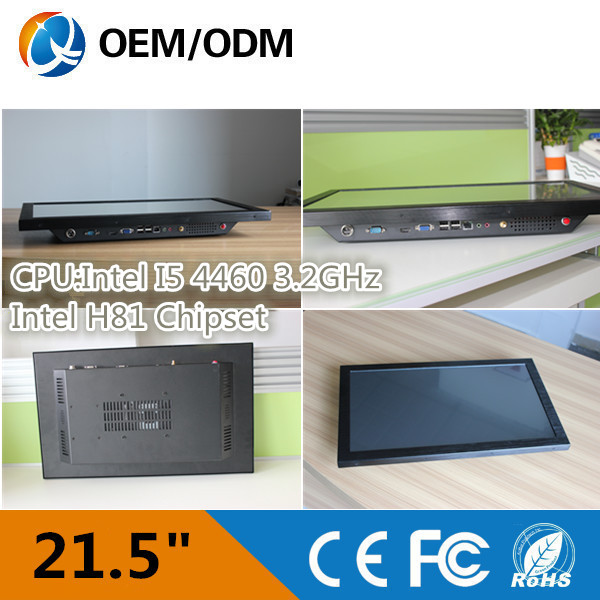 OEM 21.5 inch Resolution 1920X1080 all in one pc with Intel I5 4460 3.2GHz Installation desktop/wall hanging/embedded