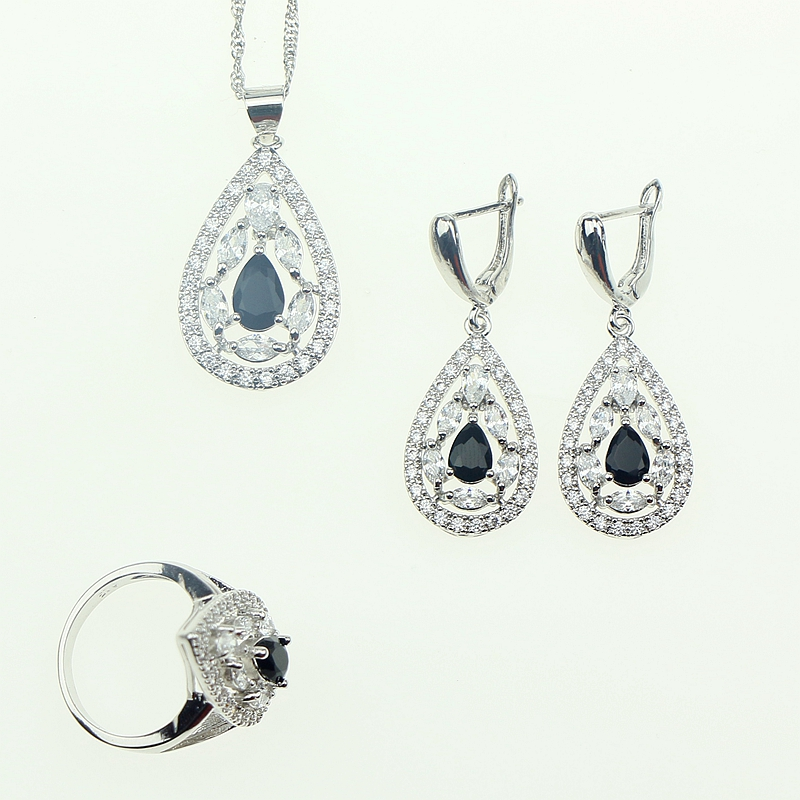 Wedding Black Cubic Zirconia White Crystal Jewelery Sterling Silver 925 Earrings/Pendant/Necklace/Ring Jewelry Sets For Women