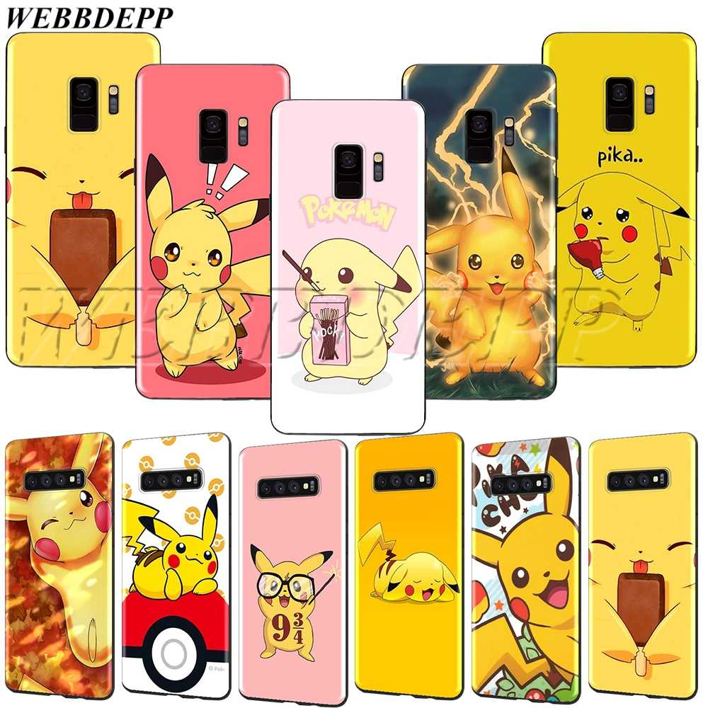 WEBBEDEPP Pikachu Soft TPU Case for Samsung Galaxy Note 8 9 S6 S7 S8 S9 S10 S10e Edge Plus