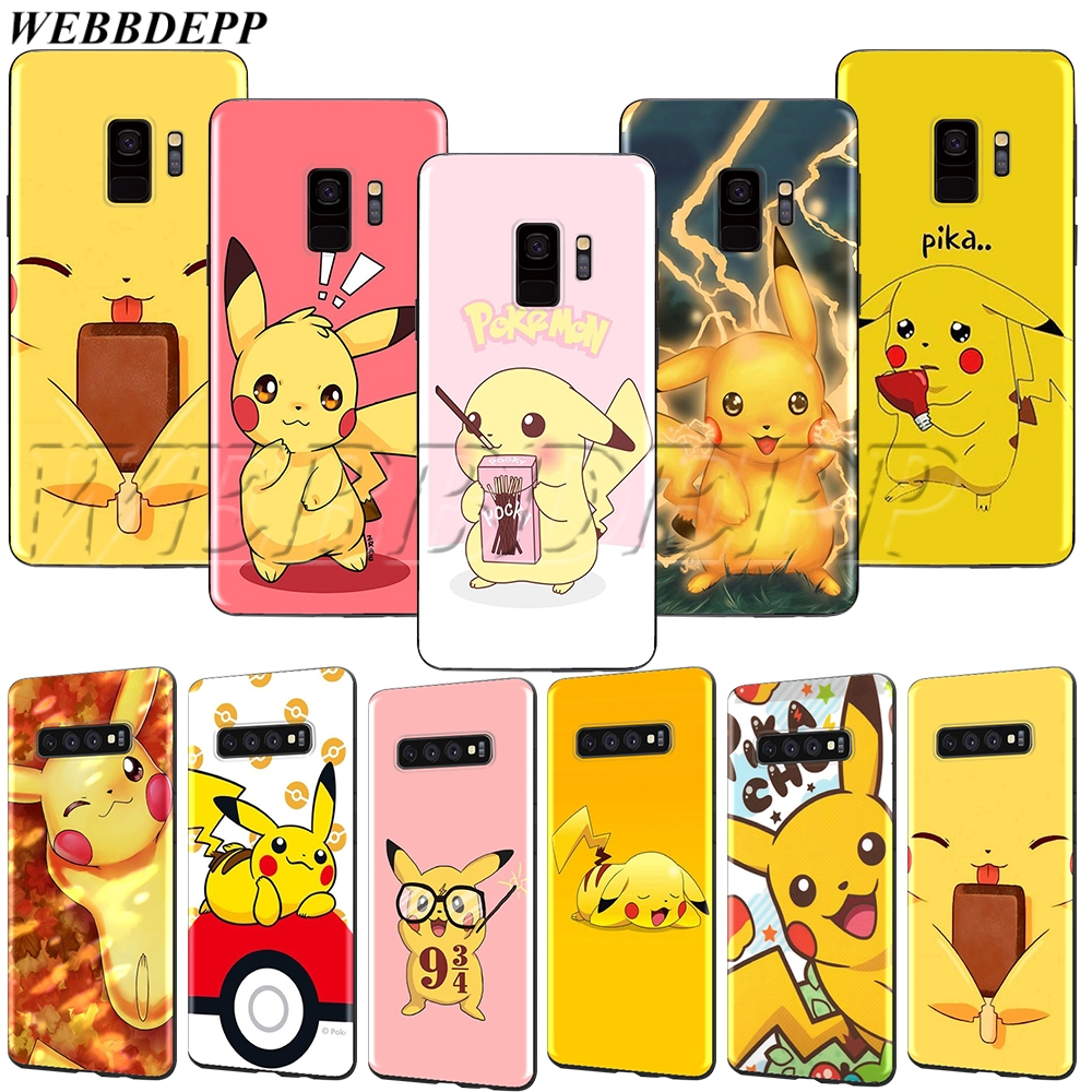 WEBBEDEPP Pikachu Soft TPU Case for Samsung Galaxy Note 8 9 S6 S7 S8 S9 S10 S10e Edge Plus