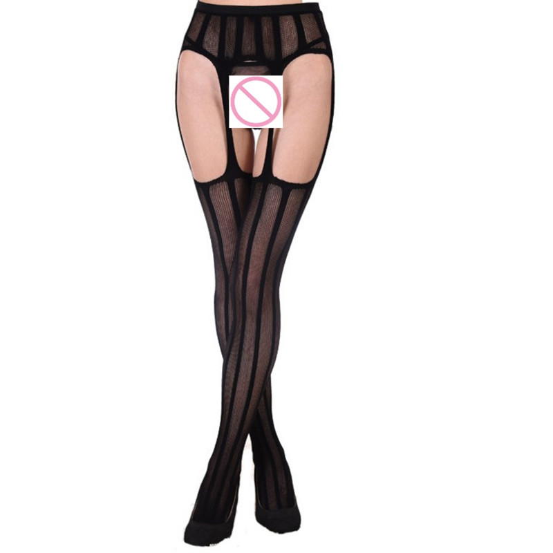 Fashion Sexy Women Sheer Tight Slim Net Hollow Lace Stockings Striped Transparent 2018 Women Stockings Pantyhose