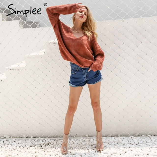 Simplee Sexy backless knitting pullover Fashion lace up autumn winter sweater women tops Casual hollow out jumper pull femme