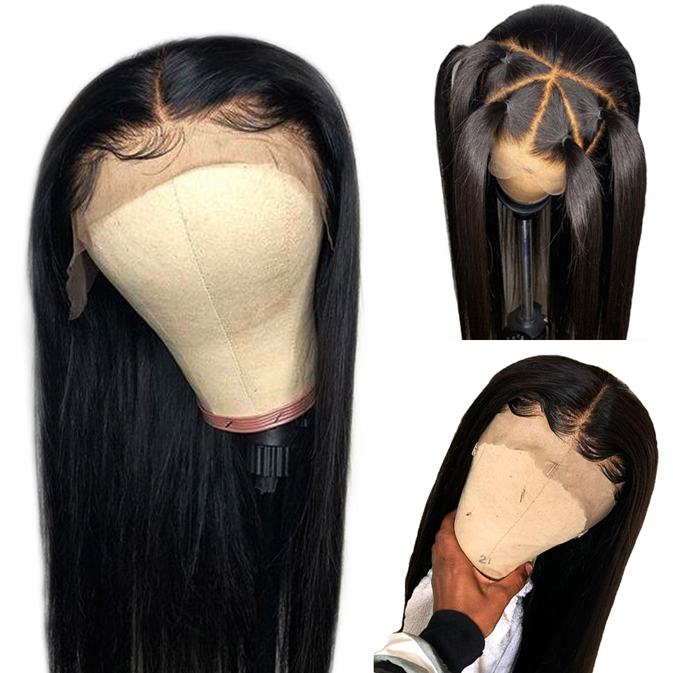 150% Straight 360 Lace Frontal Wigs Peruvian Remy Hair Bleached Knots Human Hair Wigs With Baby Hair Natural Color
