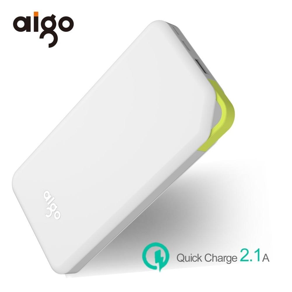Aigo 10000mAh Powerbank 2 Inputs Ultra Slim Power Bank Portable Charger External Battery Poverbank for Iphone 6 7 X for Xiaomi