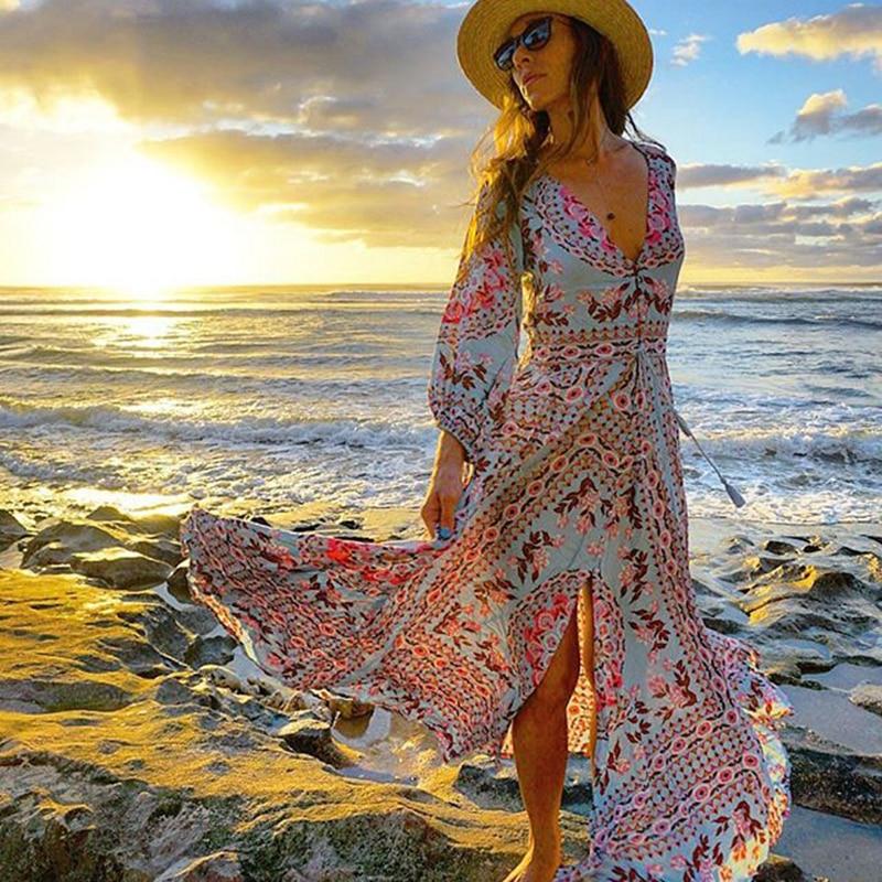 Ethnic Boho Floral Print Maxi Dress Gown Summer V-neck Drawstring Waist Long Sleeve Hippie Chic Vocation Beach Womens Dresses