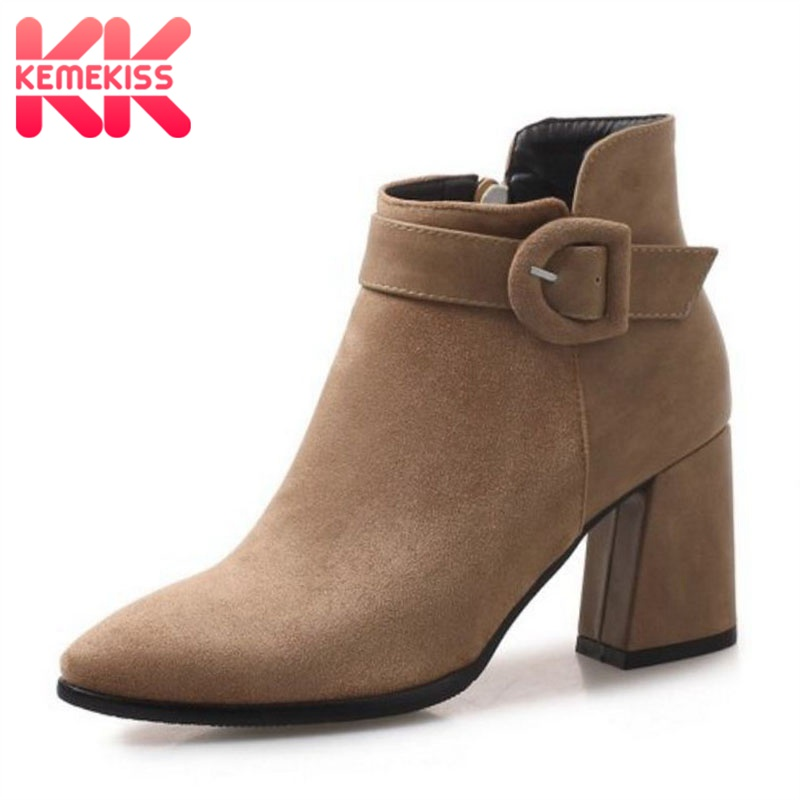 KemeKiss Plus Size 32 47 Women Fur Ankle Boots Winter Warm High Heel Boots Fashion Buckle Zipper Business Formal Shoes Women