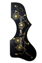 2pcs Black&Tortoise Hummingbird Flower Decoration EJ200 Style Acoustic Guitar Pickguard Peel Stick Adhesive Back