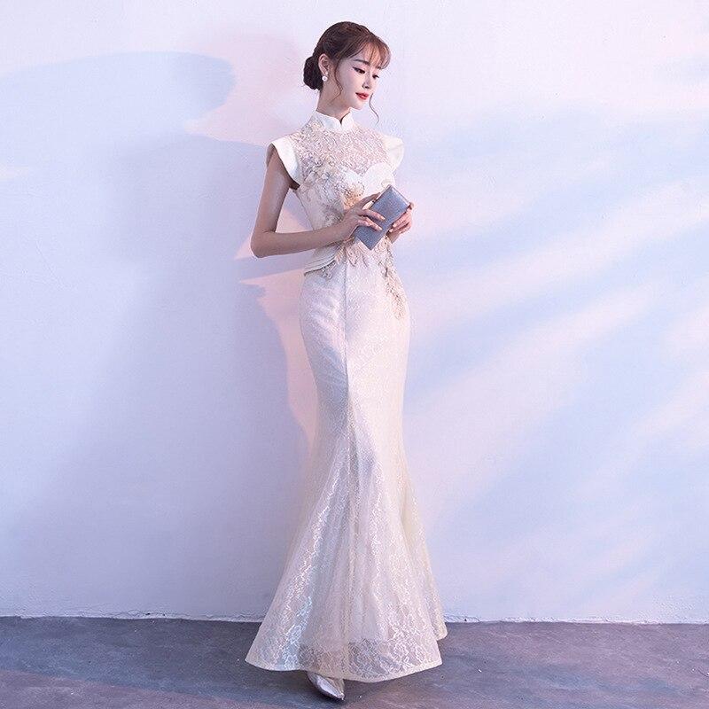 Image 2 - New Bride Party Cheongsam Oriental Womens Dress Fashion Chinese  Style Elegant Long Qipao Luxury Wedding Robe Vestido S XXLDresses   -