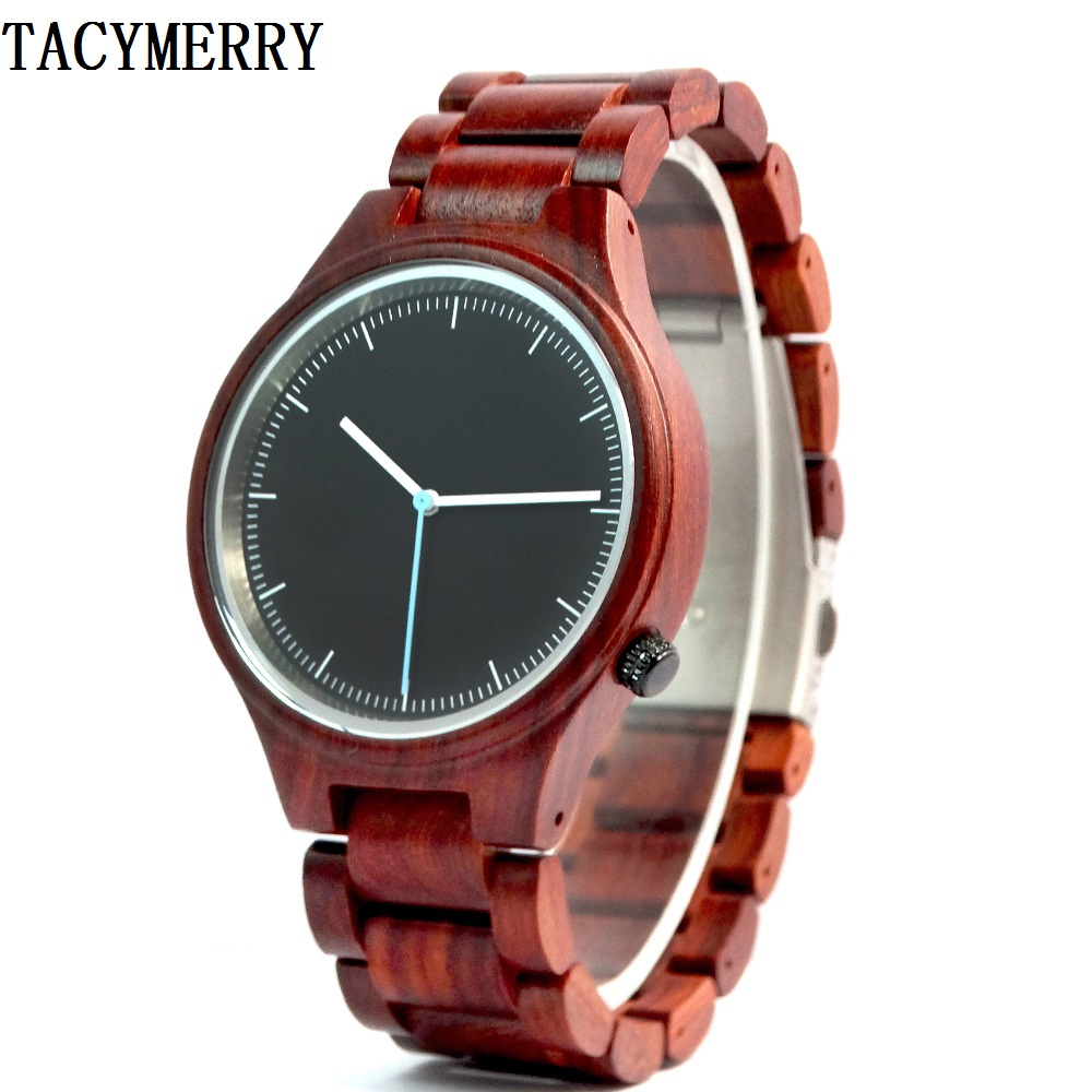Luxury Red Sandlwood Wristwatch For Men With High Quality Janpen Movement Quartz Watch For Christmas Gifts