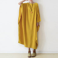 Plus Size Clothing Woman Lady Summer Loose Casual Cotton Linen High Quality Brand Maxi Dress