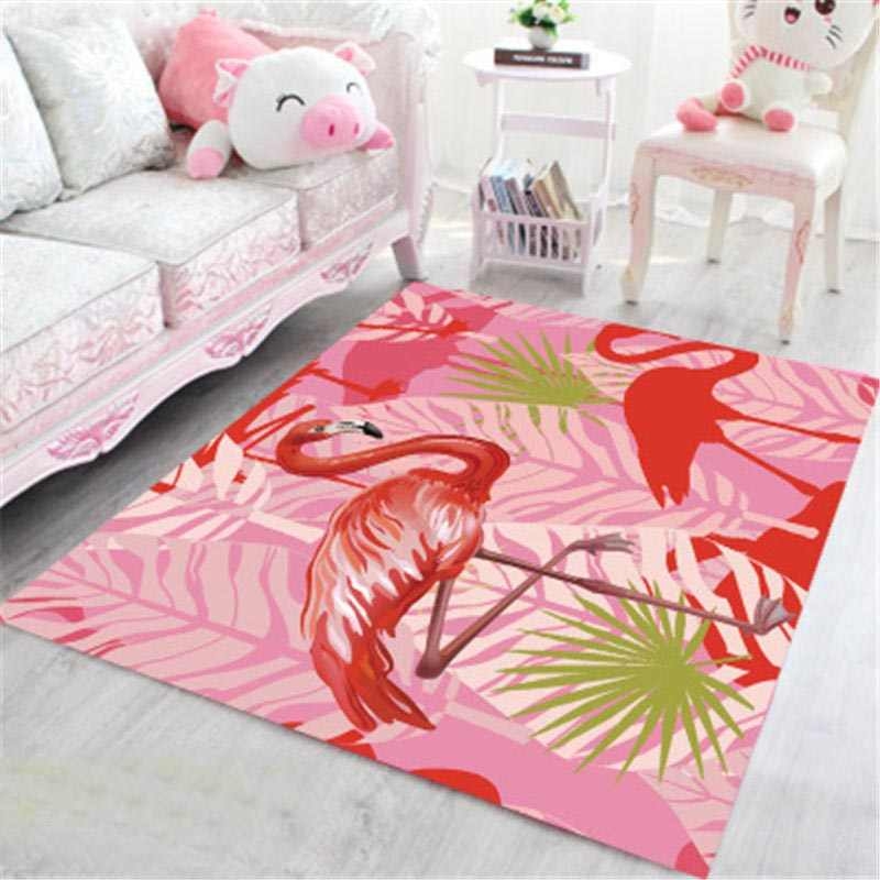 Tropical Flamingo Large Area Rug For Living Room Rug Bedroom Cartoon Kids  Room Floral Carpet Girls Room Red Centre Carpets