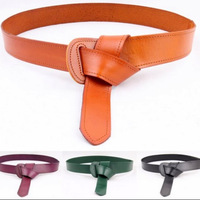 Fashion leather black red decoration waist seal wide belt knotted belt