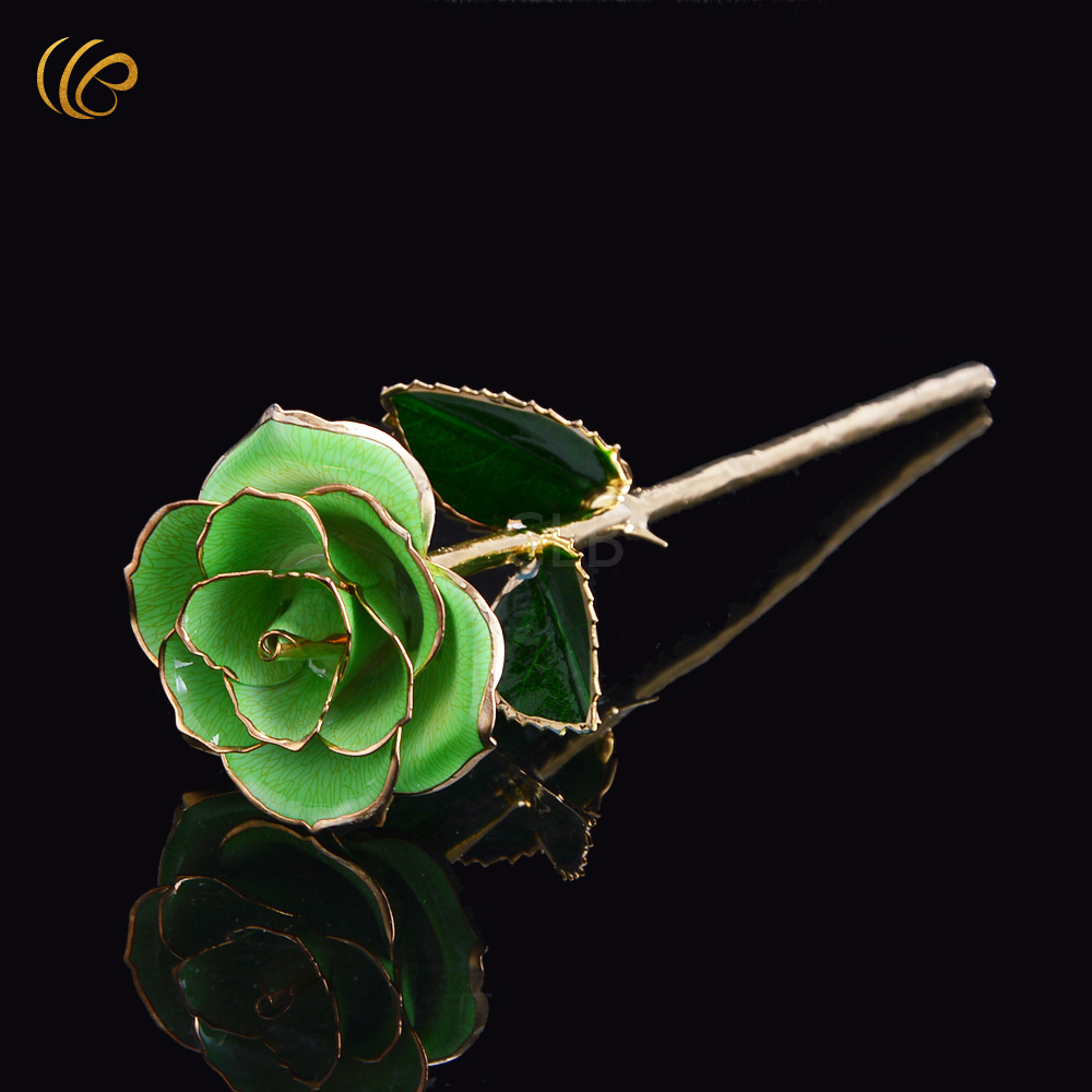 Online get cheap flower girl gift box aliexpress alibaba group home decoration flowers creative valentines day gift 24k gold plated green rose flower with gift box for lover girl friend dhlflorist Image collections