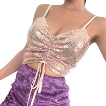 (Ship from US) 2019 Summer Women Sequins Crop Tops Sleeveless Spaghetti  Strap Sling Camisole Shiny Bling Shirt Vest Nightclub Camis Pink ab7aff02100b