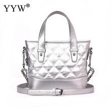 Yyw bolsa carteiro feminina, bolsa feminina transversal de alta qualidade, feita em prata, com zíper