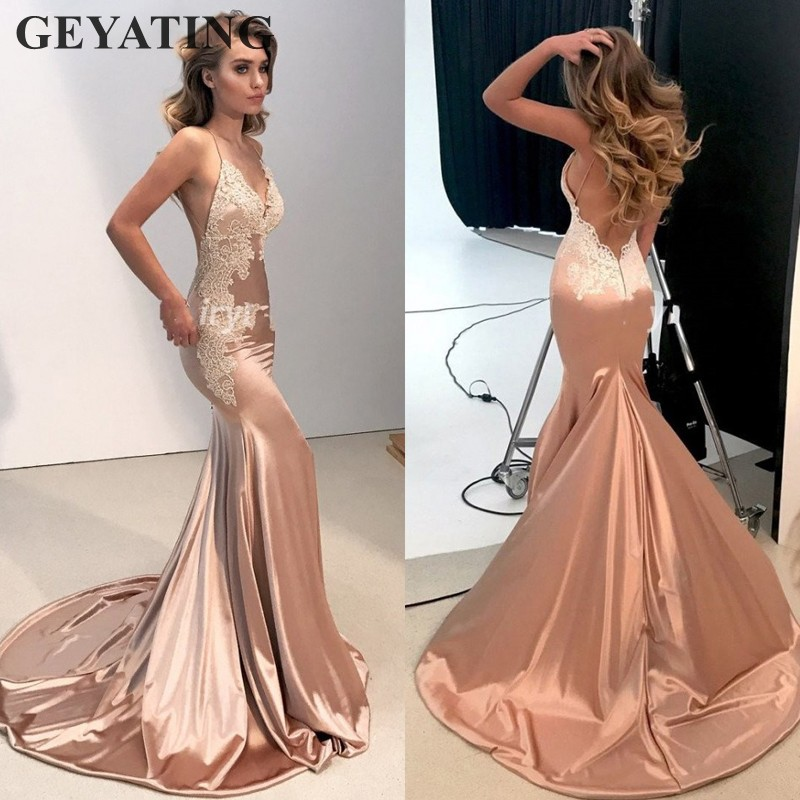Sexy V-Neck Open Back Mermaid   Prom     Dresses   Long 2019 Elegant Women Rose Gold Champagne Satin Formal Evening   Dress   with Straps
