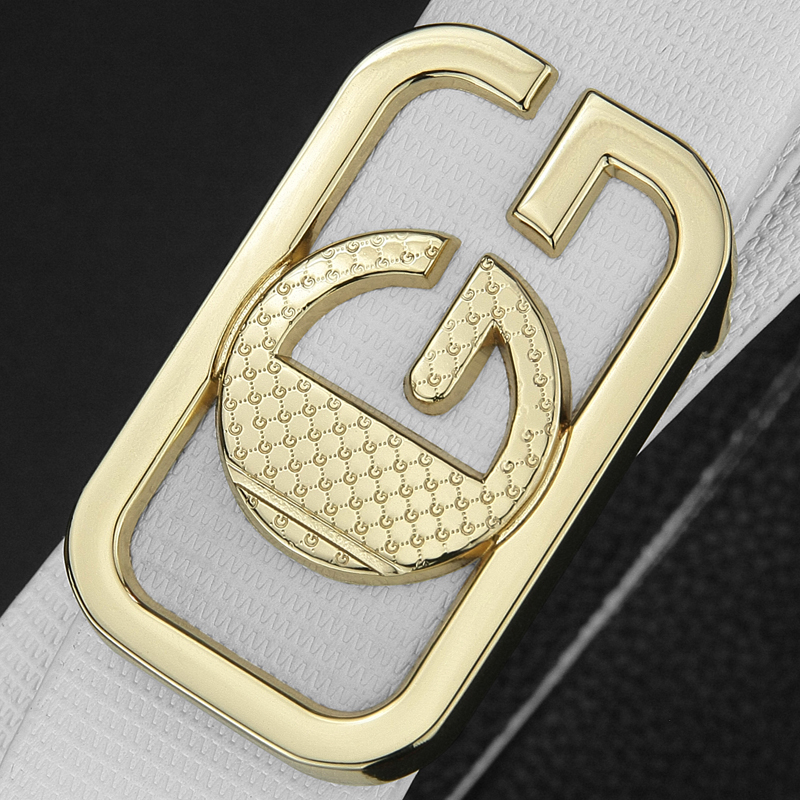 2018 High Quality G Letter Luxury Belt Men White Genuine Leather Designer Casual Waistband Young Men Cowskin Ceinture Homme