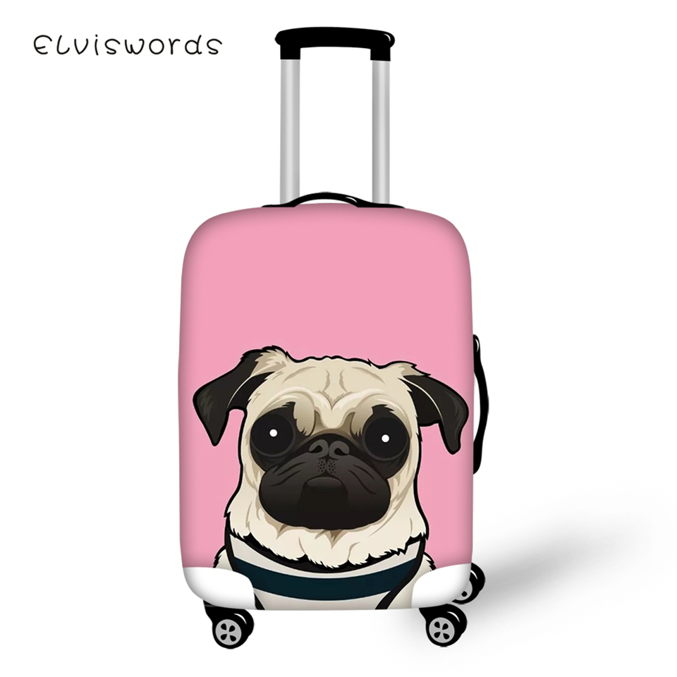 ELVISWORDS Cute Suitcase Protective Cover Elastic Dustproof Waterproof Kawaii Bulldogs Painting Travel Luggage Accessories