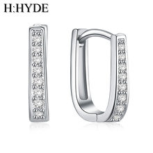 H:HYDE fashion sweet 1 pair Silver Color Earrings white Cubic Zirconia shiny woman earrings For Christmas gift(China)