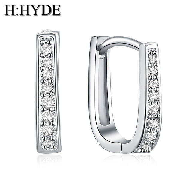 H:HYDE fashion sweet 1 pair Silver Color Earrings white Cubic Zirconia shiny wom