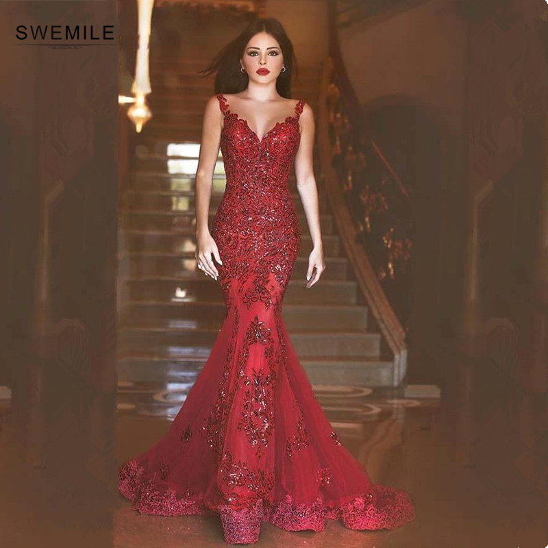 Prom-Dresses Beading Sequined Appliques Mermaid Backless Sexy Long V-Neck Gorgeous Red title=